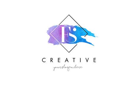 FS Watercolor Letter Brush Logo. Artistic Purple Stroke with Square Design.BC Watercolor Letter Brush Logo. Artistic Purple Stroke with Square Design.