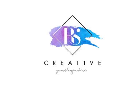 RS Watercolor Letter Brush Logo. Artistic Purple Stroke with Square Design.BC Watercolor Letter Brush Logo. Artistic Purple Stroke with Square Design. Logó