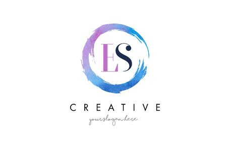 ES Circular Letter Brush Logo. Pink Brush with Splash Concept Design.