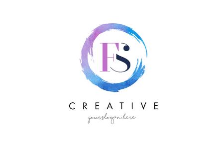 FS Circular Letter Brush Logo. Pink Brush with Splash Concept Design. Ilustração