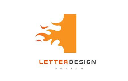 I Letter Flame Logo Design. Fire Logo Lettering Concept Vector.
