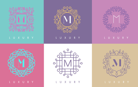 initial: M Letter Pastel Floral Monogram Lines Logo Design. Elegant Linear Cosmetic Beauty.