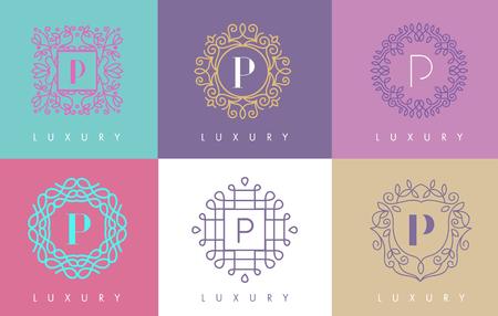 design: P Letter Pastel Floral Monogram Lines Logo Design. Elegant Linear Cosmetic Beauty. Illustration