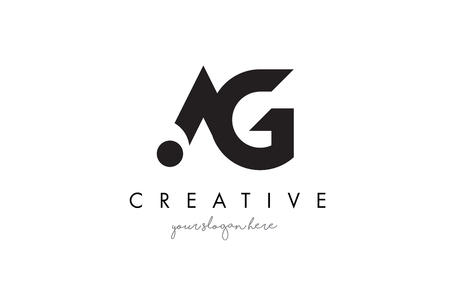 ag: AG Letter Logo Design with Creative Modern Trendy Typography and Black Colors.