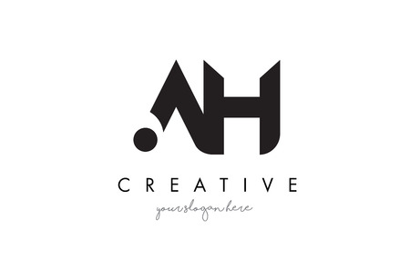 AH Letter Logo Design with Creative Modern Trendy Typography and Black Colors.