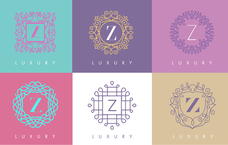 concepts and ideas: Z Letter Pastel Floral Monogram Lines Logo Design. Elegant Linear Cosmetic Beauty. Illustration