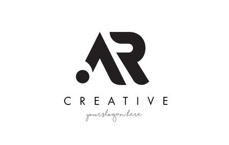 AR 文字ロゴ デザイン創造的なモダンなトレンディーなタイポグラフィと黒い色。