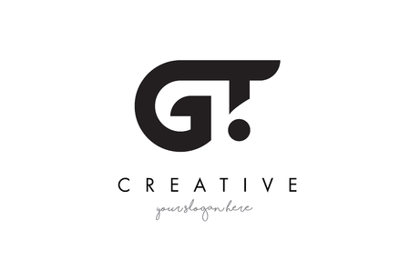gt: GT Letter Logo Design with Creative Modern Trendy Typography and Black Colors.