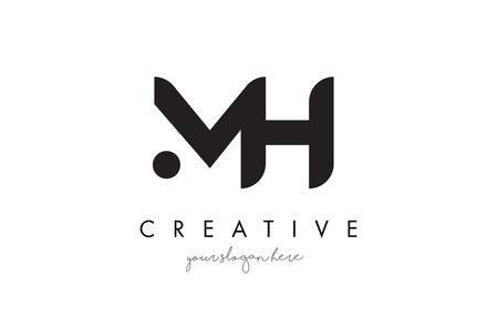 MH Letter Logo Design met Creative Modern Trendy Typography en Black Colors. Stock Illustratie