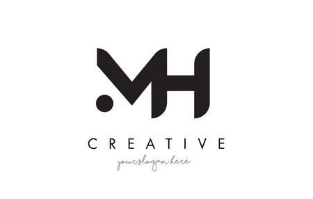 MH Letter Logo Design with Creative Modern Trendy Typography and Black Colors. Illustration