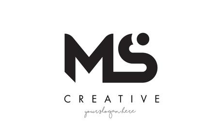 MS 文字ロゴ デザイン創造的なモダンなトレンディーなタイポグラフィと黒い色。  イラスト・ベクター素材