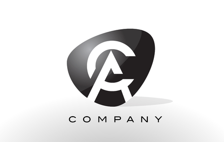 AC Logo. Letter Design Vector with Oval Shape and Black Colors.