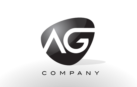 ag: AG Logo. Letter Design Vector with Oval Shape and Black Colors.