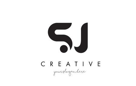 SJ Letter Logo Design bij Creative Modern Trendy Typografie en zwarte kleuren.