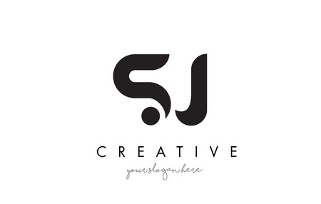 s m: SJ Letter Logo Design with Creative Modern Trendy Typography and Black Colors. Illustration