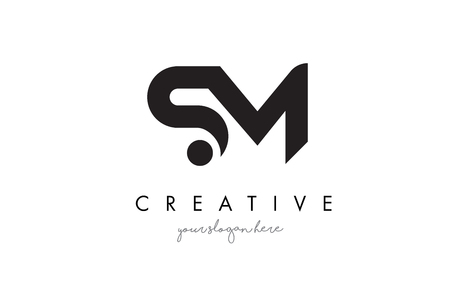 SM Letter Logo Design with Creative Modern Trendy Typography and Black Colors.