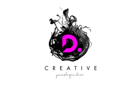 D Letter Logo Design With Ink Cloud Flowing Texture And Purple Colors