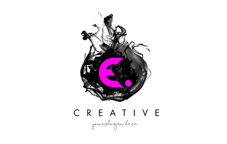 e business: E Letter Logo Design with Ink Cloud Flowing Texture and Purple Colors.