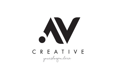 AV Letter Logo Design with Creative Modern Trendy Typography and Black Colors. Illustration