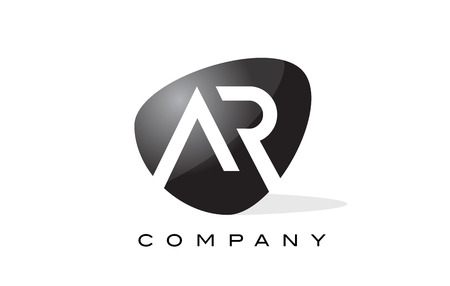 ar: AR Logo. Letter Design Vector with Oval Shape and Black Colors.