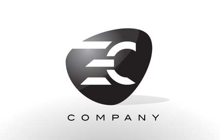 ec: EC Logo. Letter Design Vector with Oval Shape and Black Colors. Illustration