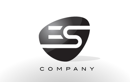 ES Logo. Letter Design Vector with Oval Shape and Black Colors.