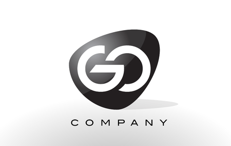 go to: GO Logo. Letter Design Vector with Oval Shape and Black Colors. Illustration