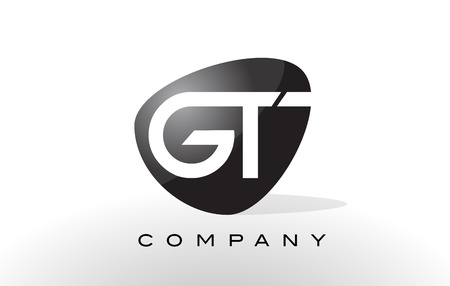 gt: GT Logo. Letter Design Vector with Oval Shape and Black Colors.