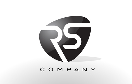 RS Logo. Letter Design Vector with Oval Shape and Black Colors.
