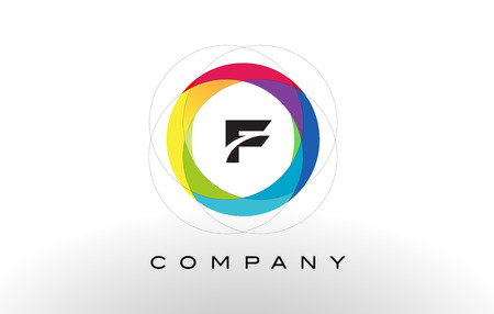 F Letter Logo with Rainbow Circle Design. Colorful Rounded Circular Letter Design Ilustração