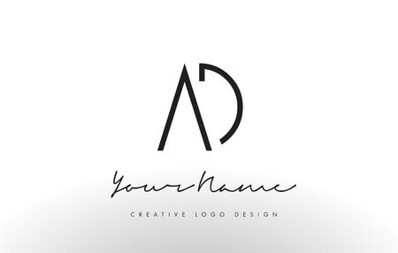 AD Letters Logo Design Slim. Simple and Creative Black Letter Concept Illustration.