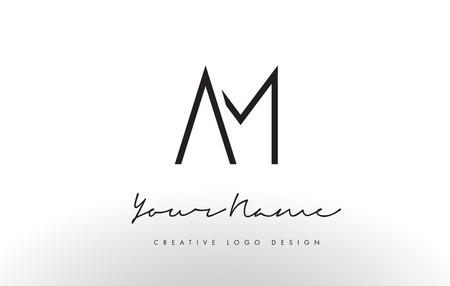 AM Letters Logo Design Slim. Simple and Creative Black Letter Concept Illustration. Ilustrace