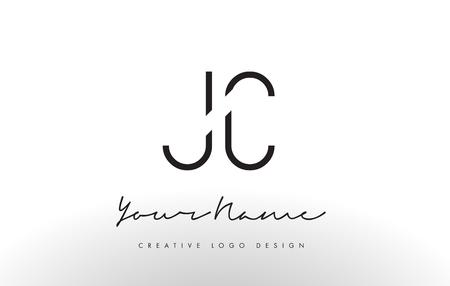 JC Letters Logo Design Slim. Simple and Creative Black Letter Concept Illustration.