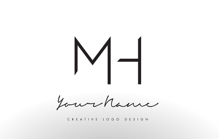 MH Letters Logo Design Slim. Simple and Creative Black Letter Concept Illustration.