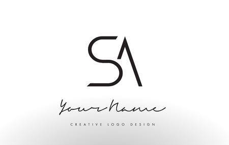 SA Letters Logo Design Slim. Ilustración simple y creativa del concepto de carta negra.