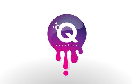 Q Letter Splash Logo. Purple Dots and Bubbles Letter Design Vector Illustration.
