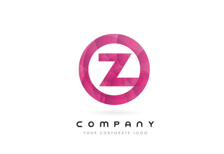 Z Letter Logo Design with Circular Purple Rounded Pattern.