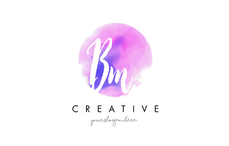 b n: BM Watercolor Letter Logo Design with Purple Rounded Aquarella Brush Stroke.
