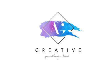 ag: AG Watercolor Letter Brush Logo. Artistic Purple Stroke with Square Design.