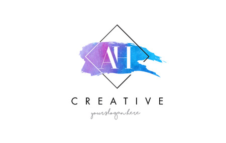 AH Watercolor Letter Brush Logo. Artistic Purple Stroke with Square Design.