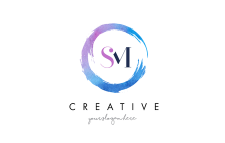 SM Circular Letter Brush Logo. Pink Brush with Splash Concept Design. Ilustrace