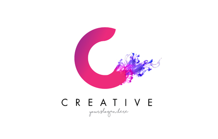C Letter Logo Design with Ink Cloud Flowing Texture and Purple Colors.
