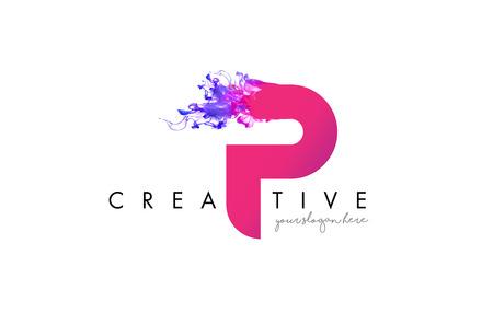 P Brief Logo Design mit Tinte Wolke fließenden Textur und lila Farben.
