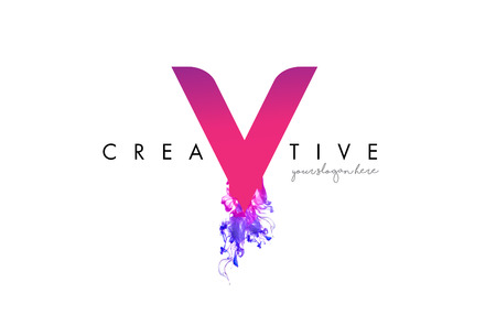 V Letter Logo Design with Ink Cloud Flowing Texture and Purple Colors.