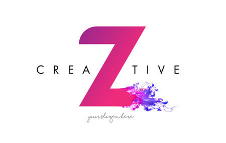 Z Letter Logo Design with Ink Cloud Flowing Texture and Purple Colors.