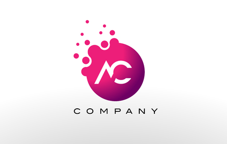 ac: AC Letter Dots Logo Design with Creative Trendy Bubbles and Purple Magenta Colors. Illustration