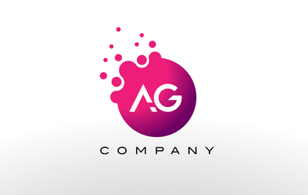 ag: AG Letter Dots Logo Design with Creative Trendy Bubbles and Purple Magenta Colors.