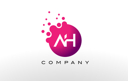 AH Letter Dots Logo Design with Creative Trendy Bubbles and Purple Magenta Colors. Illustration