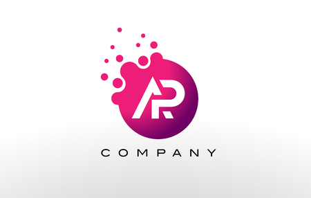 ap: AP Letter Dots Logo Design with Creative Trendy Bubbles and Purple Magenta Colors.