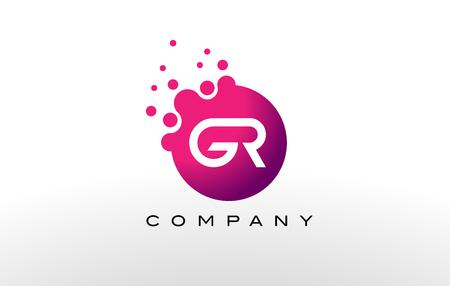 크리 에이 티브 유행 버블 및 자주색 마젠타 색 색으로 GR 편지 점 로고 디자인.